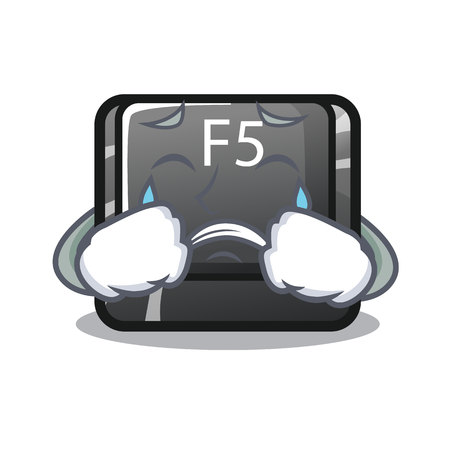 Crying button f5 in the shape cartoon vector illustration