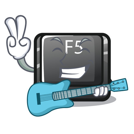 With guitar button f5 in the shape cartoon vector illustration