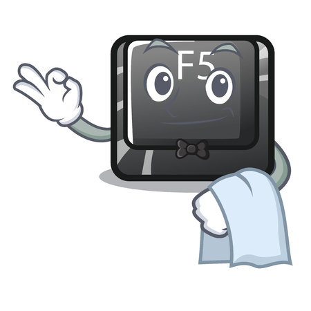 Waiter button f5 in the shape cartoon vector illustration