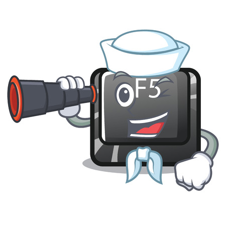Sailor with binocular button f5 in the shape cartoon vector illustration
