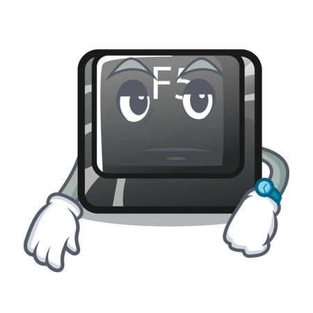 Waiting longest F5 button on cartoon keyboard vector illustration Illustration