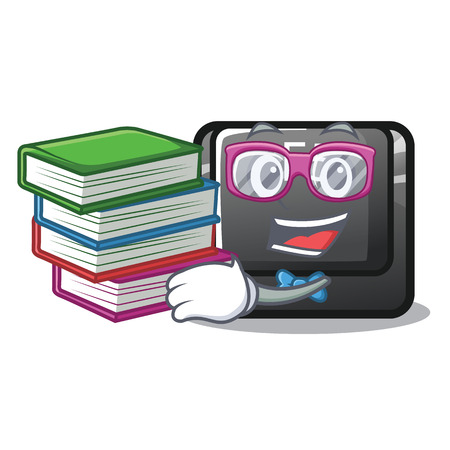 Student with book longest F5 button on cartoon keyboard vector illustration Illustration
