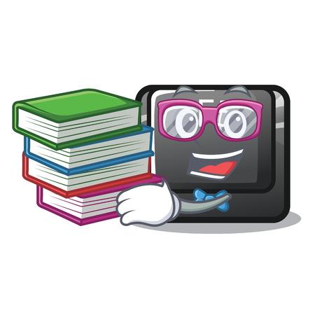 Student with book longest F5 button on cartoon keyboard vector illustration 일러스트