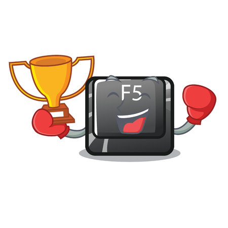 Boxing winner longest F5 button on cartoon keyboard vector illustration