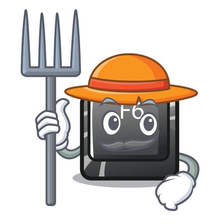 Farmer longest F6 button on cartoon computer vector illustration Illustration