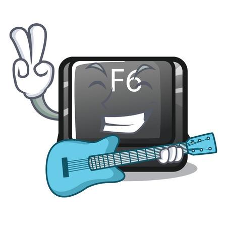 With guitar button f6 on the shape cartoon vector illustration Stock Illustratie