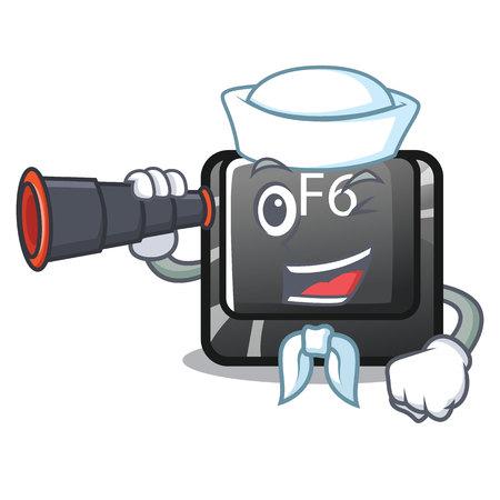 Sailor with binocular button f6 on the shape cartoon vector illustration Illustration