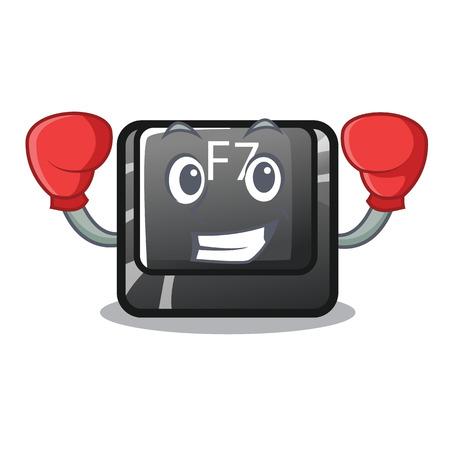 Boxing f7 button installed on cartoon keyboard vector illustration