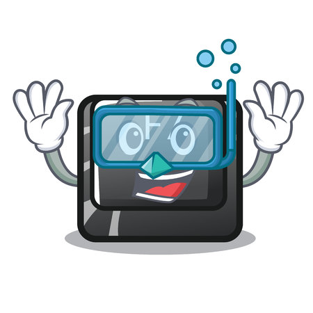 Diving button f7 in the shape mascot vector illustration Çizim