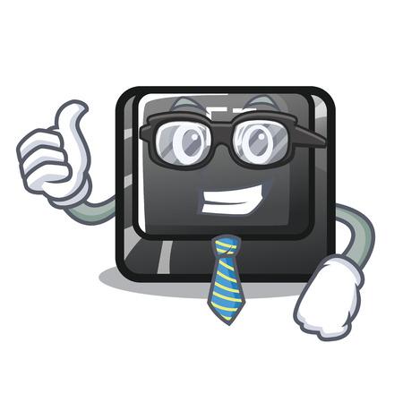 Businessman button f7 in the shape mascot vector illustration