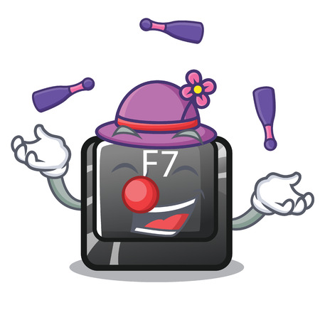 Juggling button f7 isolated in the character vector illustration