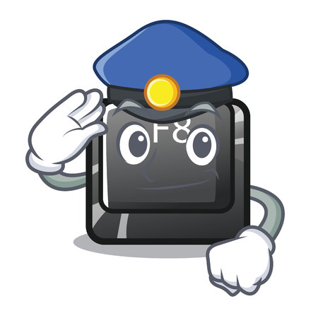Police button f8 in the shape character vector illustration
