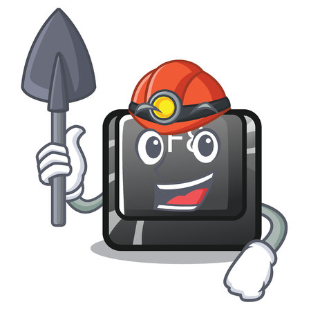 Miner f8 button installed on computer mascot vector illustration