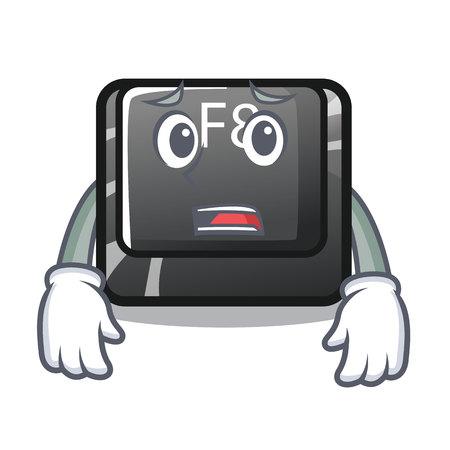 Afraid f8 button installed on computer mascot vector illustration