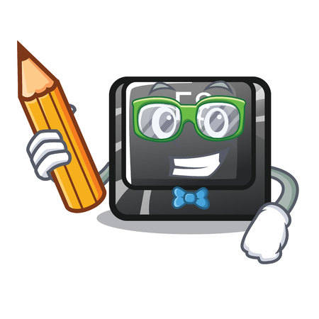 Student button f8 isolated with the cartoon vector illustration Ilustração