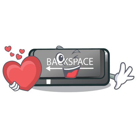 With heart backspace button installed on cartoon keyboard vector illustration