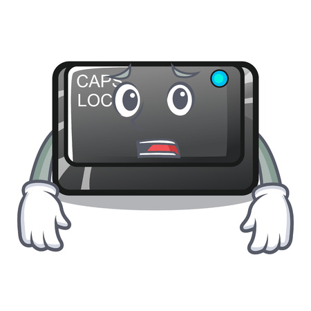 Afraid capslock button attached to mascot keyboard