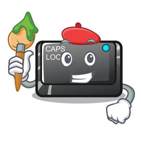 Artist capslock button on a computer cartoon vector illustration Ilustração