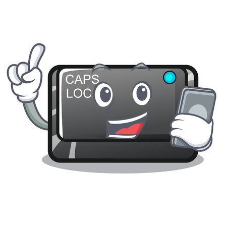 With phone capslock button on a computer cartoon vector illustration