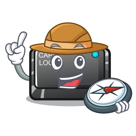 Explorer capslock button attached to mascot keyboard vectoir illuistration