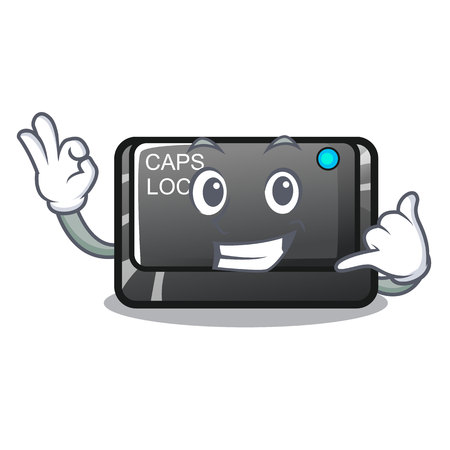 Call me capslock button isolated with the cartoon vector illustration