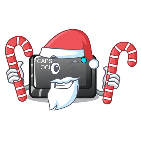 Santa with candy capslock button isolated with the cartoon vector illustration