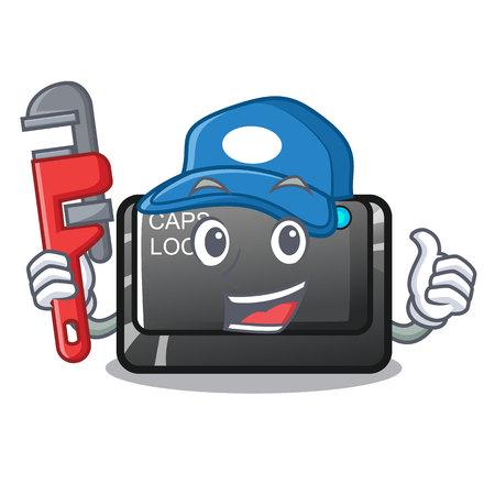 Plumber capslock button isolated with the cartoon vector illustration Иллюстрация