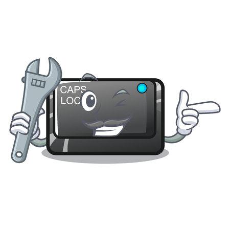 Mechanic capslock button isolated with the cartoon vector illustration Иллюстрация
