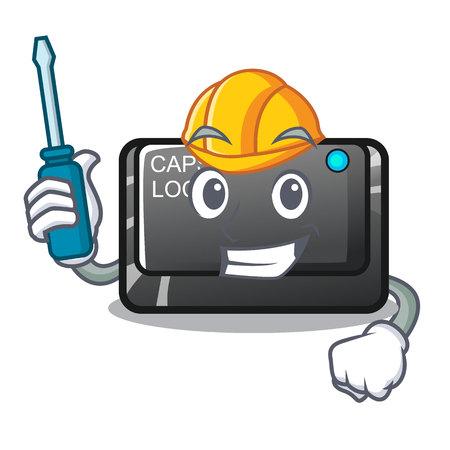 Automotive capslock button isolated with the cartoon vector illustration