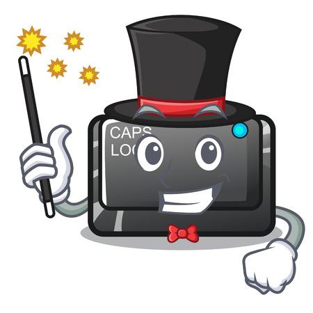 Magician capslock button isolated with the cartoon