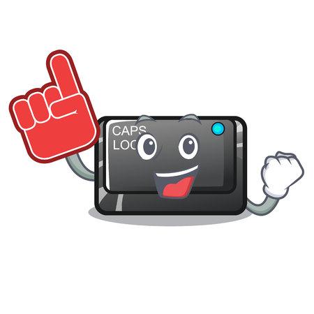 Foam finger capslock button isolated with the cartoon vector illustration Illustration