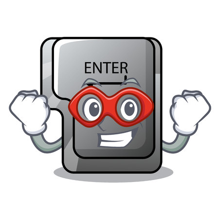Super hero button enter on a keyboard character vector illustration Ilustração