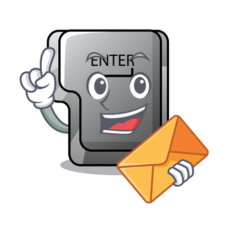 With envelope button enter on a keyboard character vector illustration 일러스트