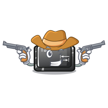 Cowboy tab button installed on computer character Illustration