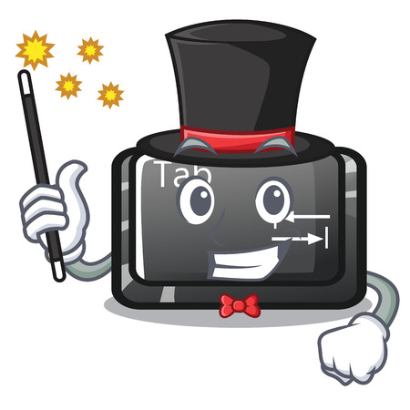 Magician button tab isolated with the mascot vector illustration