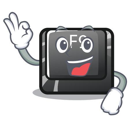 Okay F9 button installed on cartoon keyboard vector illustration