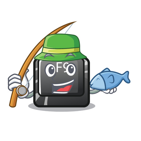 Fishing button f9 in the character shape vector illustration