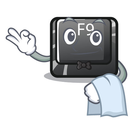 Waiter button f9 in the character shape vector illustration