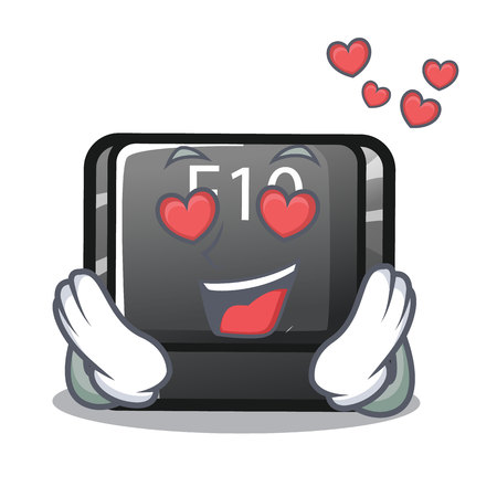 In love button f10 isolated with the cartoon vector illustration Illustration