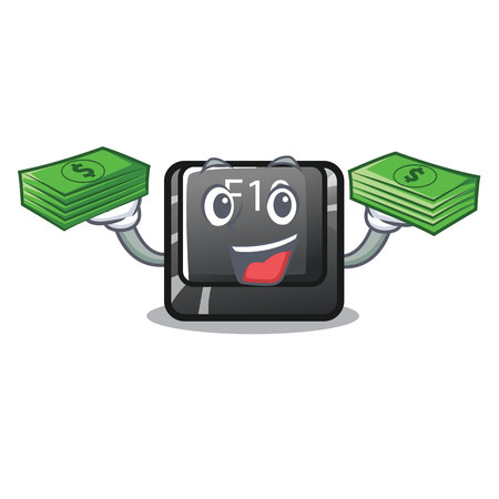 With money button f10 isolated with the cartoon vector illustration