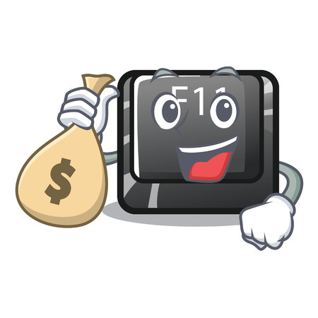 With money bag f11 button installed on mascot keyboard vector illustration