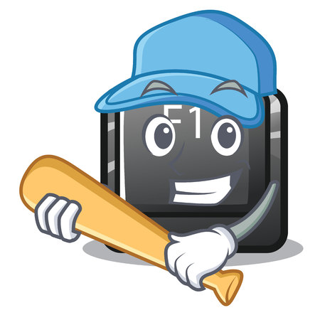 Playing baseball f11 button installed on mascot keyboard vector illustration