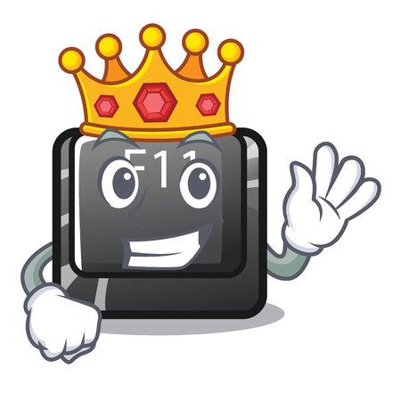 King button f11 on a cartoon computer vector illustration