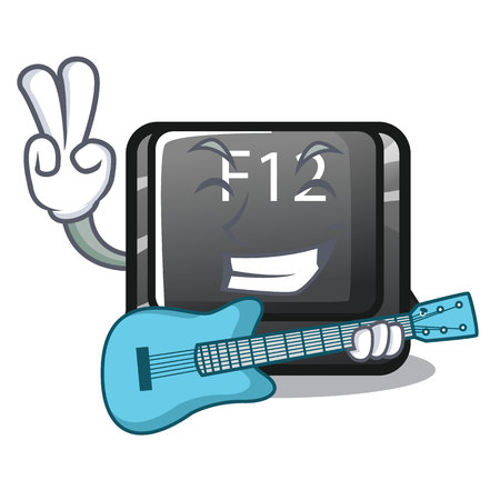With guitar button f12 in the cartoon shape vector illustration Stock Illustratie