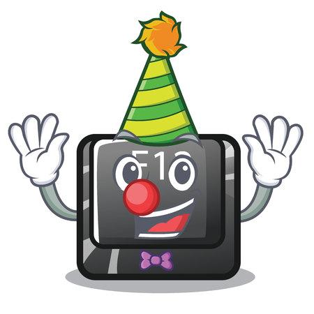 Clown f12 button installed on cartoon computer vector illustration