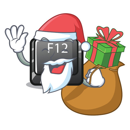 Santa with gift f12 button installed on cartoon computer vector illustration