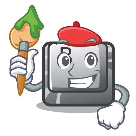 Artist button B installed on cartoon computer vector illustration