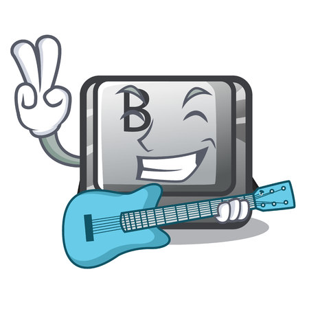 With guitar button B on a mascot keyboard vector illustration Stock Illustratie
