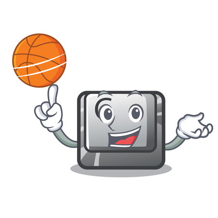 With basketball button C on a keyboard character vector illustration