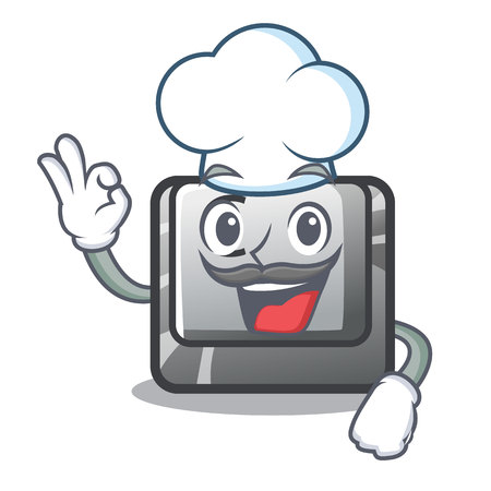 Chef button C in the mascot shape vector illustration